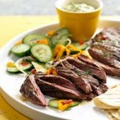Spicy Skirt Steak w/Avocado Dipping Sauce