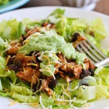 Easy Crock Pot Chicken & Black Bean Taco Salad