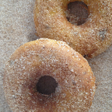Pumpkin Donuts with Chocolate Chips & Cinnamon and Sugar