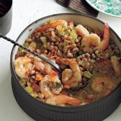 Garlicky Black-Pepper Shrimp & Black-Eyed Peas