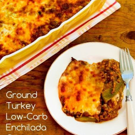Ground Turkey Low-Carb Enchilada Casserole with Red and Green Chiles (Gluten-Free)