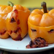 Super-Scary Halloween Spicy Chili Stuffed Jack-O-Peppers