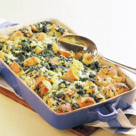 Spinach and Jack Cheese Bread Pudding
