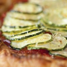Tomato, Zucchini and Leek Gallette with Roasted Garlic Goat Cheese