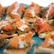 Smoked Salmon canape with Green Olive Grapefruit Tapenade