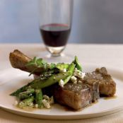 Lamp Chops with Asparagus-Feta Salsa Verde
