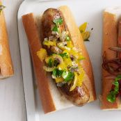 Sausages with Orange, Olive and Sweet Onion Relish