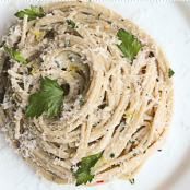 Spaghetti with Creme Fraiche, Parsley, Lemon and Parmesan Cheese