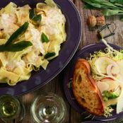 Fettuccine with Champagne Sage Cream Sauce