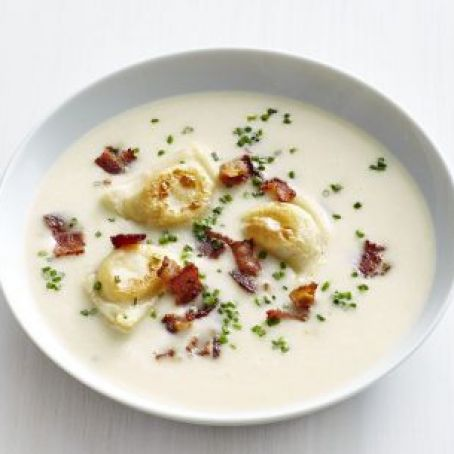 Potato-Leek Soup with Mini Pierogi