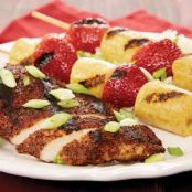 grilled chicken, bananas and strawberries