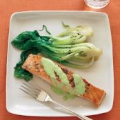Salmon with Wasabi & Baby Bok Choy