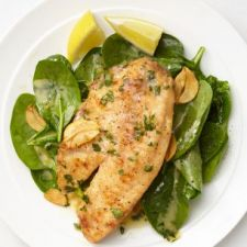 Lemon-Garlic Tilapia with Spinach