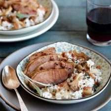 Duck & Apple Risotto With Bacon, Sage, & Forest Mushrooms