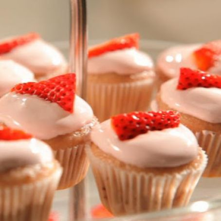 Blushing Strawberry Cupcakes