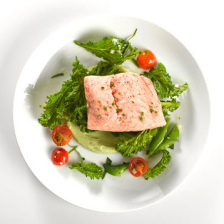 Fish: Poached Salmon with Avocado Sauce