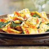 Three-Cheese Ravioli with Baby Spinach & Spicy Arrabbiata Sauce