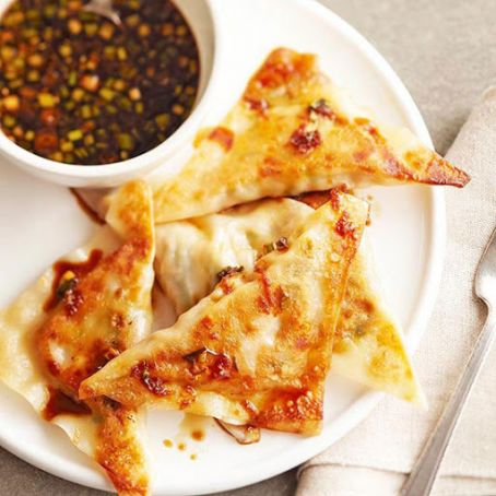 Spicy Chicken Pot Stickers with Ginger & Green Onion Dipping Sauce