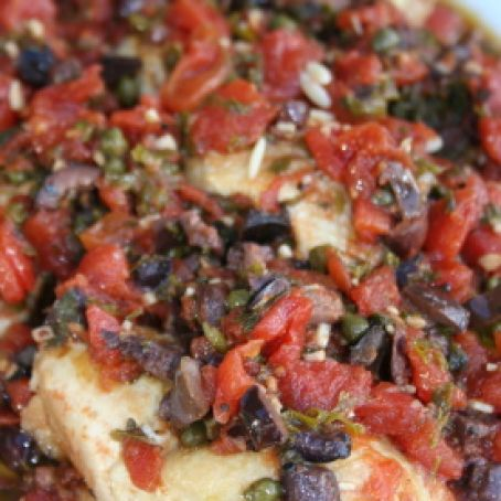 Chicken Thighs with Tomatoes, Olives, and Capers