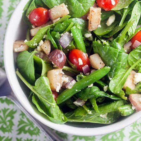 Spinach Salad with Potatoes, Olives & Feta