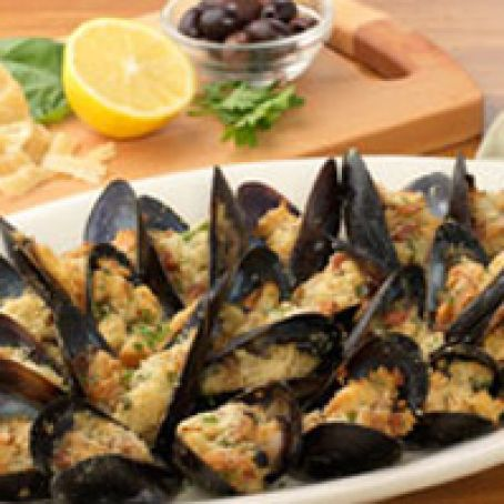 Baked Stuffed Mussels with Focaccia and Lemon