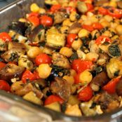 Roasted Eggplant with Tomato, Chickpeas, and Feta