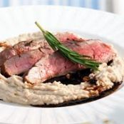 Balsamic Flank Steak on White Bean Purée