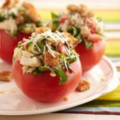 Fresh Bruschetta Chicken-Stuffed Tomatoes