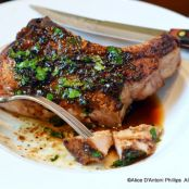 Grilled Bone in Pork Chop with Beurre Blanc Sauce