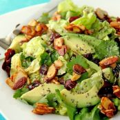 Cranberry Avocado Salad with Candied Spiced Almonds & Sweet White Balsamic Vinaigrette