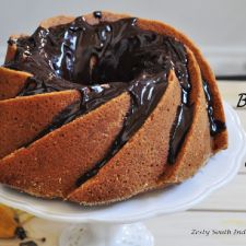 BANANA BLACK WALNUT CAKE WITH CHOCOLATE GLAZE