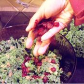 Holiday Kale Salad with Cranberries, Almonds, Pumpkin Seeds, and Crystallized Ginger