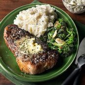 Strip Steaks with Rosemary-Garlic Butter, Taleggio Mashed Potatoes & Roasted Broccoli Rabe
