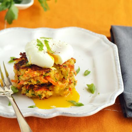 Quinoa and garbanzo patties with poached eggs