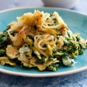 Matzo Brei with Creamed Spinach and Crispy Onions