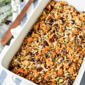 Chicken and Wild Rice Casserole with Butternut Squash and Cranberries