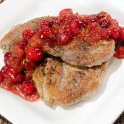 Pork with fresh cranberry sauce