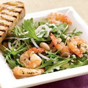 Roasted Rosemary Shrimp with Arugula & White Bean Salad