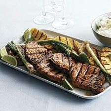 Ginger-Sesame Pork Chops with Grilled Pineapple