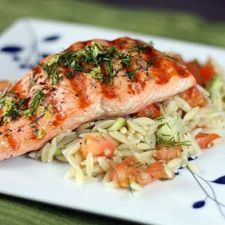 Teriyaki Salmon with Spinach Orzo