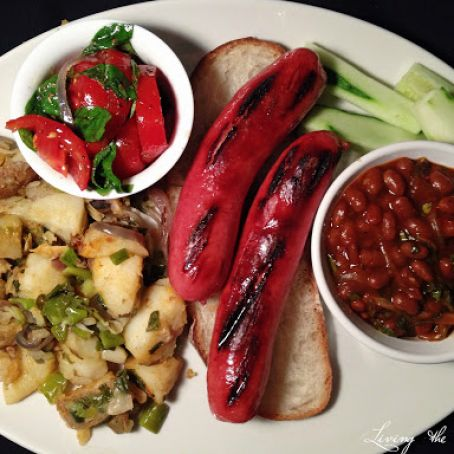 Steak Dogs with Beans, Home Fried Potatoes and Tomato Salad
