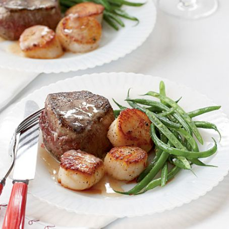 Steak with Scallops in Champagne Butter Sauce