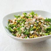 Israeli Couscous with Lemon, Mint, Peas, Feta, and Pickled Shallots