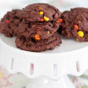 Reese Pieces Double Chunk Chocolate Cookies