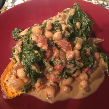 Braised Coconut Spinach & Chickpeas with Lemon
