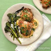 Braised Chicken Thighs & Roast Broccolini with Feta