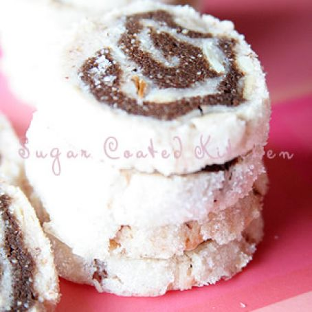 Sugar Coated Almond and Chocolate Marble Cookies