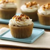 Apple-Spice Cupcakes with Maple Cream Cheese Frosting & Candied Walnuts - Gluten Free