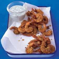 Falafel-Coated Shrimp with Yogurt Dipping Sauce