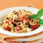 Spaghetti with Roasted Peppers, Plum Tomatoes, Goat Cheese and Fresh Basil